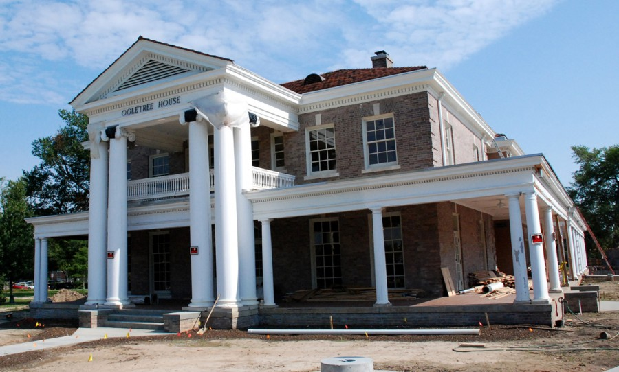 amazing column house #2: The the expanded porch of the historic 1912 Ogletree House, shown during  construction.